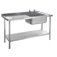 Sink Unit Stainless Steel  Single Bowl 1200mm x 600mm
