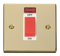 Click Deco Victorian Polished Brass with White Insert Small Cooker Switch   LV0101.0163