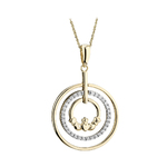 14K DIAMOND CLADDAGH CIRCLE PENDANT(BOXED)