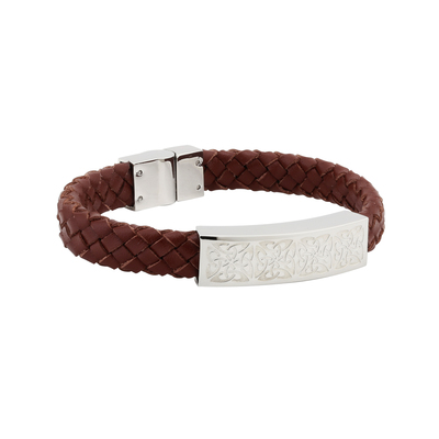 GENTS STEEL BROWN LEATHER BRACELET