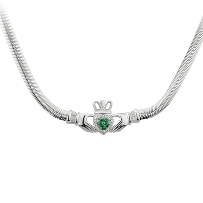 S/S GREEN CZ HEART CLADDAGH NECKLET