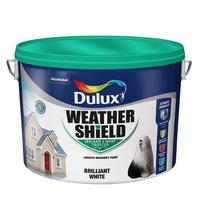 Dulux Weathershield Smooth Masonry White Paint 10 LTR  + 1 Ltr Free