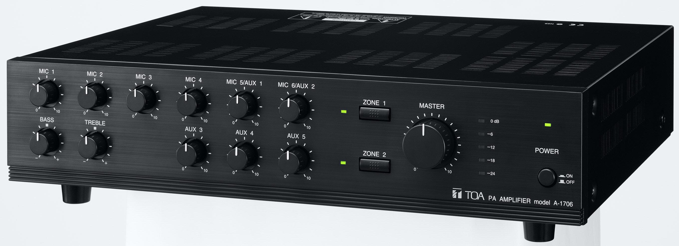 TOA A-1706 1700 Series 60 Watt Mixer Amplifier, 9 Input, 2 Zone