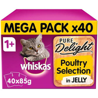 Whiskas 1+ Pouch Pure Delights Poultry Selection in Jelly Mega Pack 85g x 40
