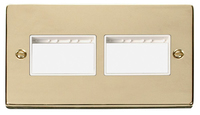 Click Deco Victorian Polished Brass with White 2 Gang Plate 3+3 Aperture | LV0101.1823