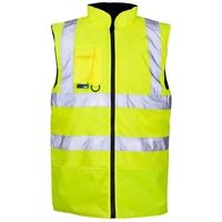 Supertouch Hi-Visibility Reversible Fleece Lined Bodywarmer, Yellow