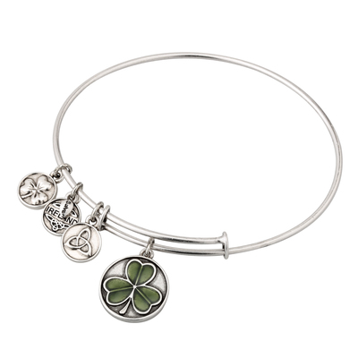 SILVER TONE ENAMEL SHAMROCK BANGLE