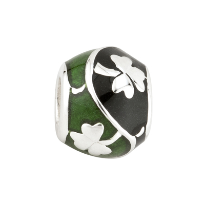 GREEN & BLACK ENAMEL SHAMROCK BEAD