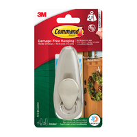 Command Outdoor Large Brushed Nickel Metal Hook FC13-BN-AW