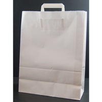 Flat Handle Carrier Bag White 450mm x 170mm x 480mm
