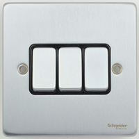 Schneider Ultimate Low Profile 3gang switch Brushed Chrome with Black Insert | LV0701.0021