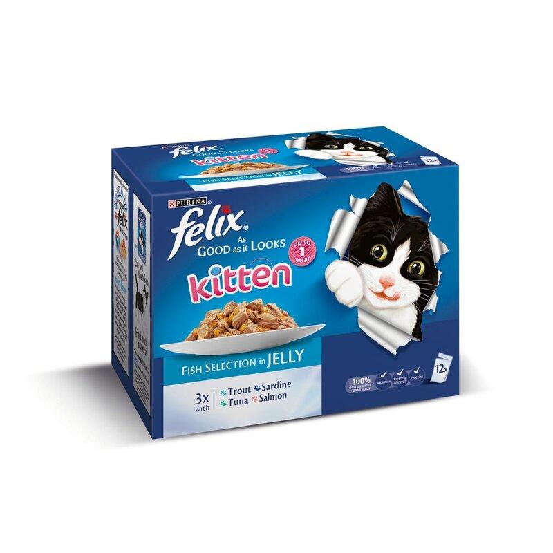 Felix Pouch As Good As It Looks Kitten Fish 4 x 12 x 100g