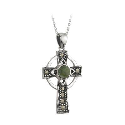 sterling silver connemara marble marcasite cross pendant s44727 from Solvar