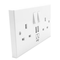 CONNEKT 2 GANG 13 AMP SWITCHED SOCKET 2 X USB 2.4A COMBINED FACEPLATE