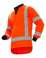 Hi Vis TTMC-W L/Sleeve Vented Cotton Back Lightweight Polo 145gsm