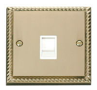 Click Deco Georgian Cast Brass with White Insert Single RJ11 Socket | LV0101.0071