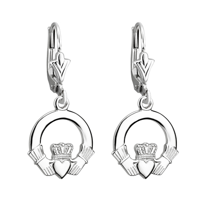 14K WHITE CLADDAGH DROP SMALL