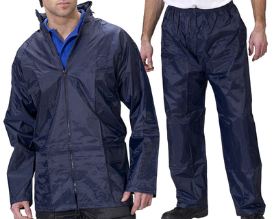 Nylon Waterproof Rainsuit Navy