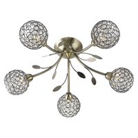 Bellis Ii Antique Brass 5 Light Fitting With Clear Glass Shades