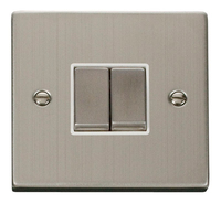 Click Deco Victorian Stainless Steel with white Insert 2 Gang 2 Way 'Ingot' Switch | LV0101.0100