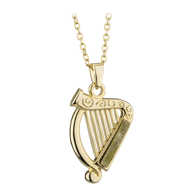 GOLD PLATED  CONNEMARA MARBLE HARP PENDANT