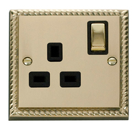 Click Deco Georgian Cast Brass with Black Insert 'Ingot' single socket | LV0101.0037