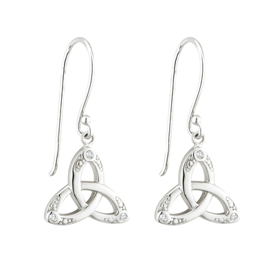 S/S CRYSTAL TRINITY KNOT DROP EARRINGS(BOXED)