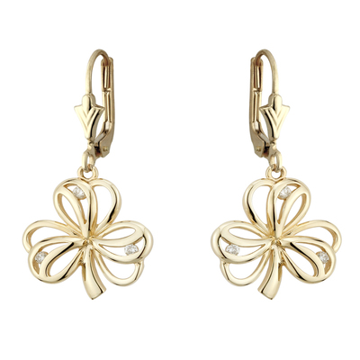 9K CZ SHAMROCK DROP EARRINGS(BOXED)