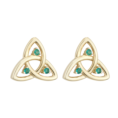 9K EMERALD TRINITY STUD EARRINGS(BOXED)