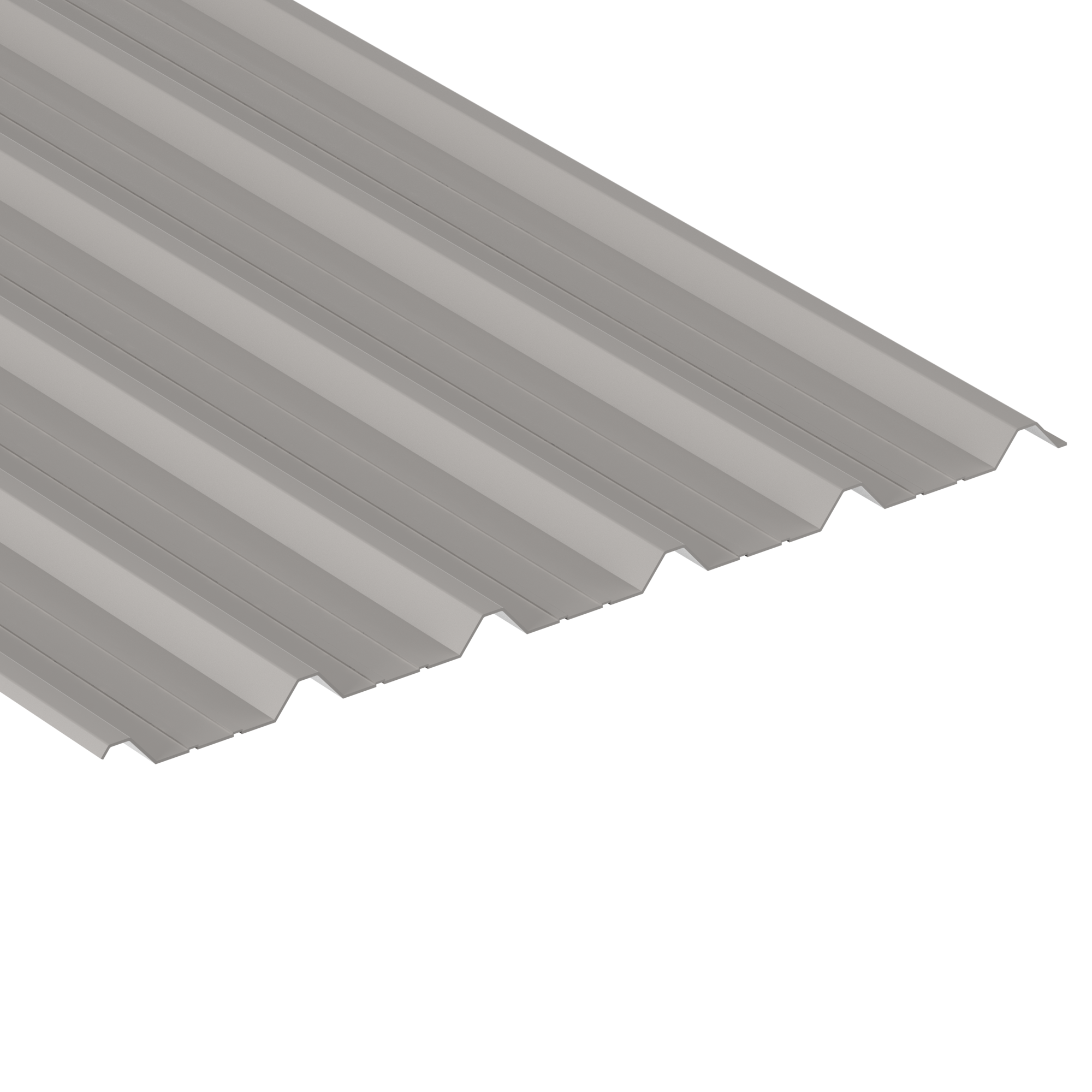 3.660m (12ft) long, 1000/32B Box Profile Steel Light Grey Alkyd Primer Finish With White Plastic Coated Underside