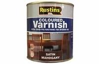 RUSTINS POLYURETHANE COLOURED VARNISH MAHOGANY SATIN 500ML