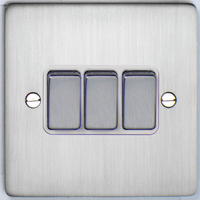 DETA Flat Plate 3gang switch Satin Chrome with White Insert | LV0201.0182