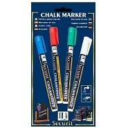 Liquid Chalk Markers Pack of 4 Small Mixed Colours