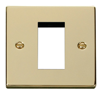 Click Deco Victorian Polished Brass 1 Gang Single Aperture DATA Plate | LV0101.0193