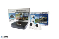 C2Max 4CH 1TB DVR and 2 x  Fixed IR White Dome Cameras with cable and PSU