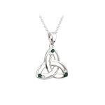 14k white gold diamond and emerald trinity knot pendant s46045 from Solvar