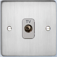 DETA Flat Plate  TV co axial plate Satin Chrome with White Insert | LV0201.0199