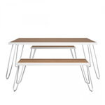 Paulette Outdoor Table and Bench Set (White) 2
