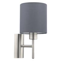 EGLO Satin Nickel and Grey Shade Wall Light Round IP20 | LV1902.0106