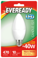EVEREADY 6W (40W) E27 LED CANDLE 470 LUMENS