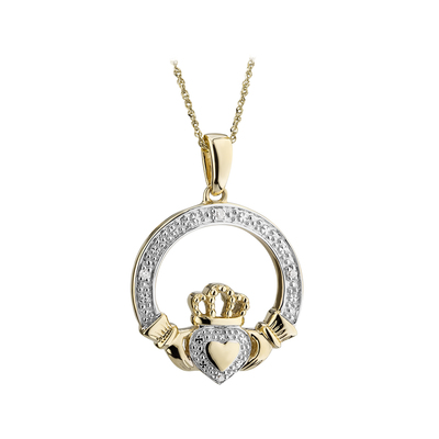14K DIAMOND CLADDAGH PENDANT (BOXED)