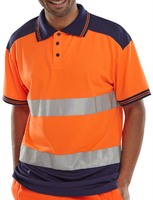 Hi-Visibility Orange/Navy Two Tone Polo Shirt