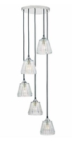 Toledo 5 Light Cluster Pendant, Polished Chrome & Iridescent Glass | LV1802.0109
