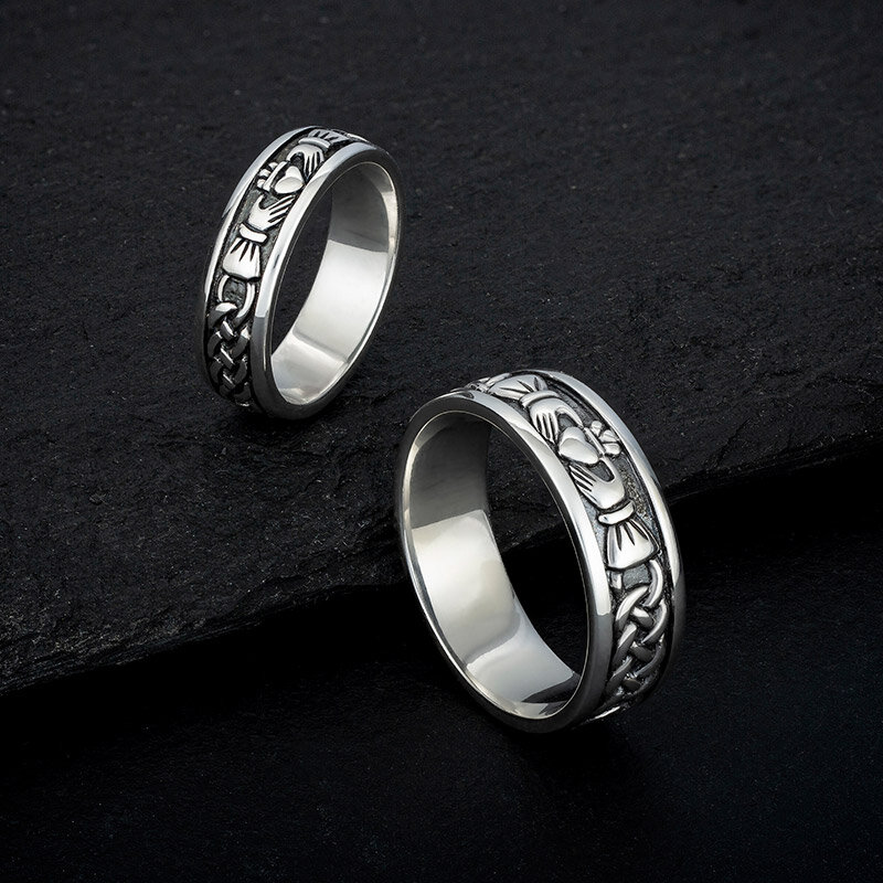 mens silver claddagh ring s2828 with matching ladies claddagh ring S2829