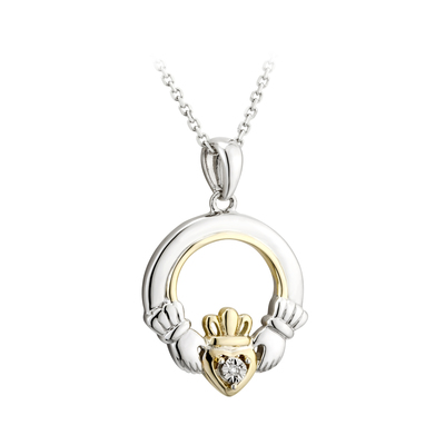 SILVER 10K GOLD & DIA CLADDAGH PENDANT