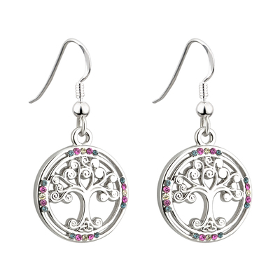 RHODIUM CRYSTAL TREE OF LIFE EARRINGS