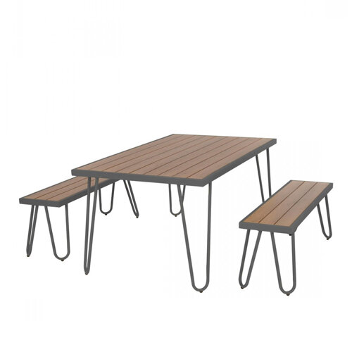 Paulette Outdoor Table and Bench Set (Black) 1