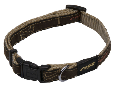 "Rogz Mocha Bone Small (Jelly Bean) Adjustable Collar 8""-12"" x 1"