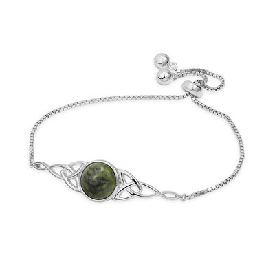 Sterling silver connemara marble stone round centre with trinity knot design bracelet S50116 from Solvar