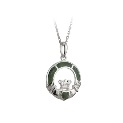 sterling silver connemara marble claddagh pendant s44700 from Solvar